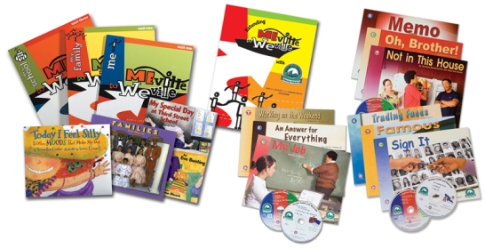 Complete Meville to Weville with (from L to R) core books for young students, extension book for older students and the Literacy Starters titles with computer versions.