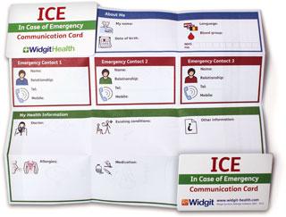 Widgit ICE card unfolded