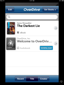 OverDrive app screenshot