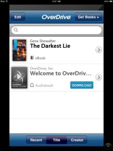 OverDrive app screenshot