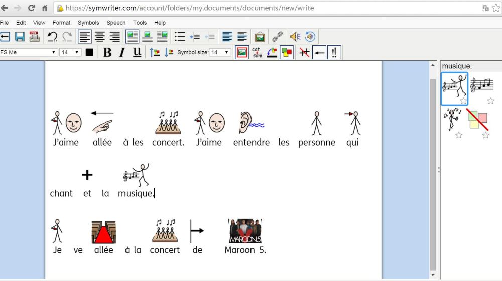 Student writing in French but in English interface. Note the picture of Maroon 5 that's been inserted into the text