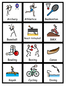 Sports symbolized with Widgit Symbols with Communicate: In Print.