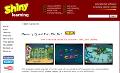 Shiny Learning switch accessible games and activities.
