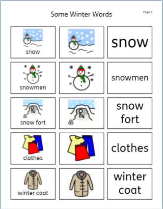 some winter words vocab sheet 1