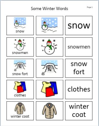 some winter words vocab sheet 1