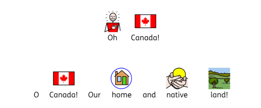 Symbolized Oh Canada in Widgit Online
